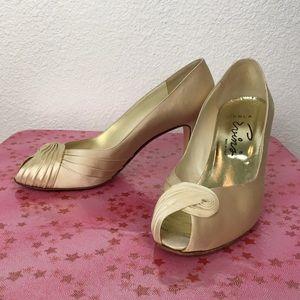Vintage 60s Perla Evins silk peep toe heels